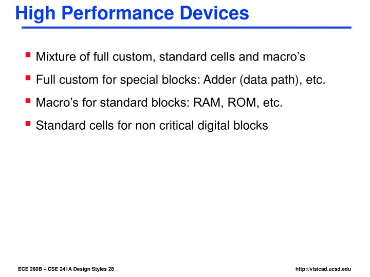 High Performance Devices