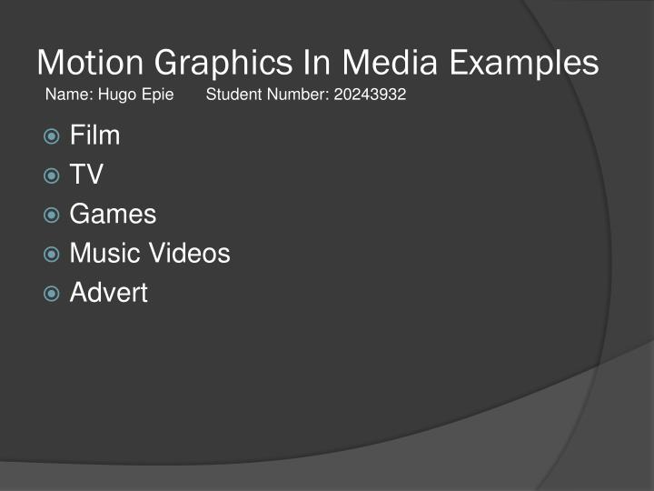 PPT - Motion Graphics In Media Examples PowerPoint