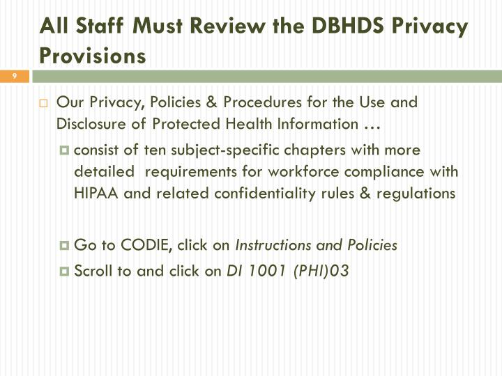 All Staff Must Review the DBHDS Privacy Provisions