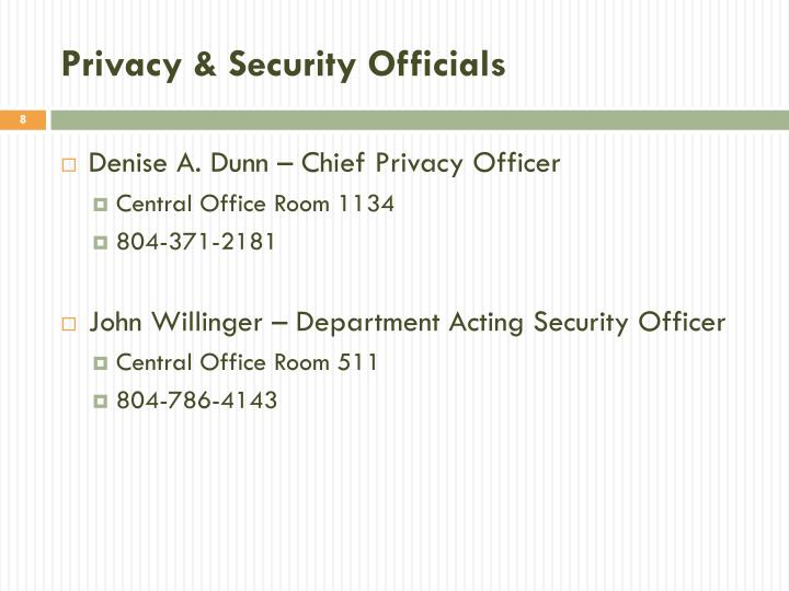 Privacy & Security Officials