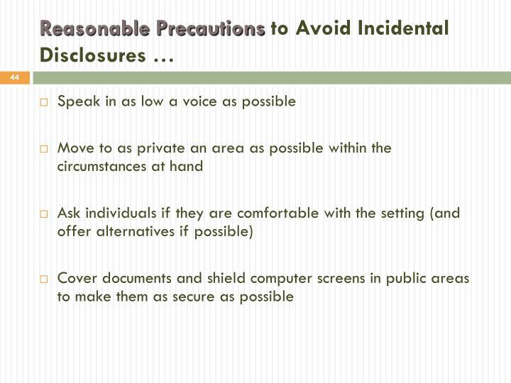 Reasonable Precautions