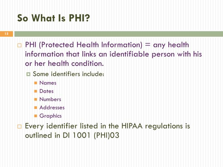 So What Is PHI?