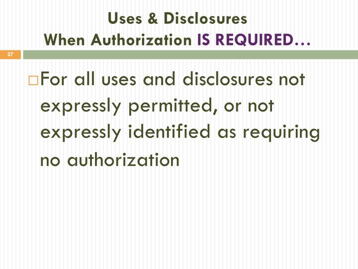 Uses & Disclosures