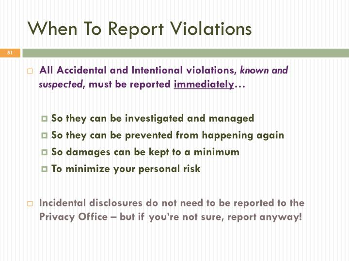 When To Report Violations
