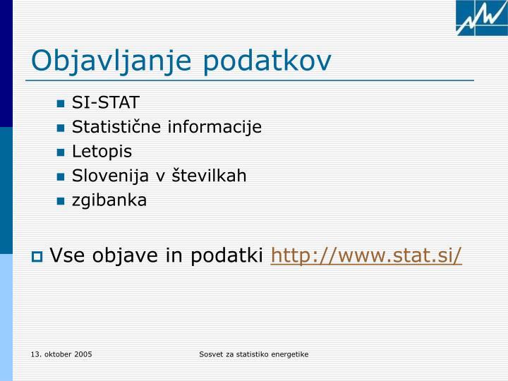 Objavljanje podatkov