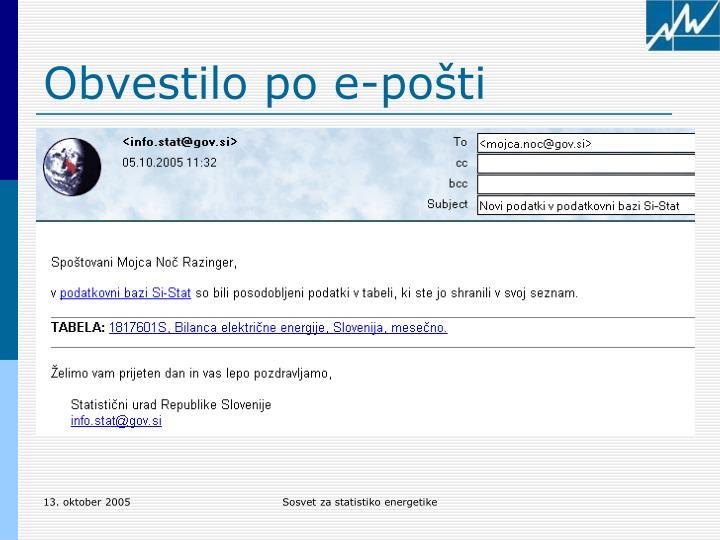 Obvestilo po e-pošti