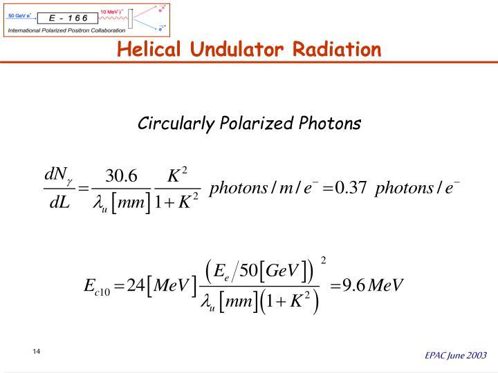 Helical Undulator Radiation