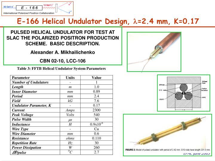 E-166 Helical Undulator Design,