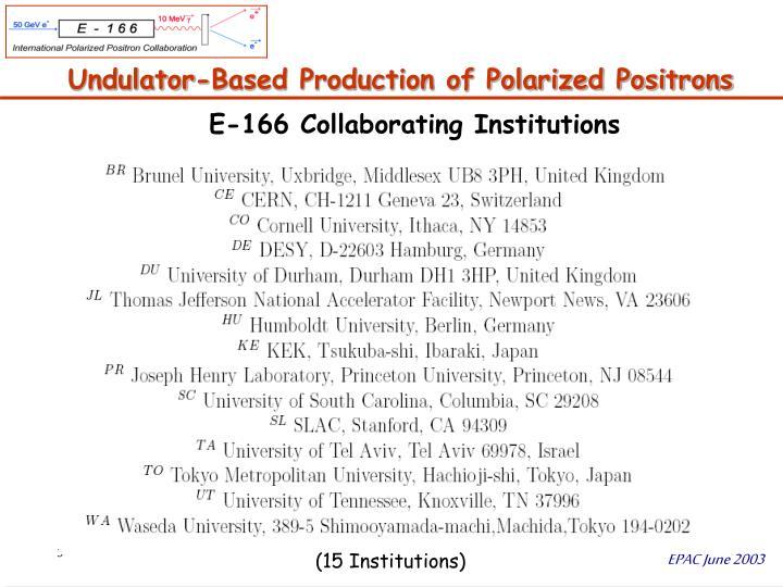 Undulator based production of polarized positrons1