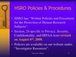 hsro policies procedures