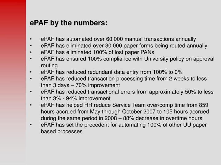 EPAF by the numbers: