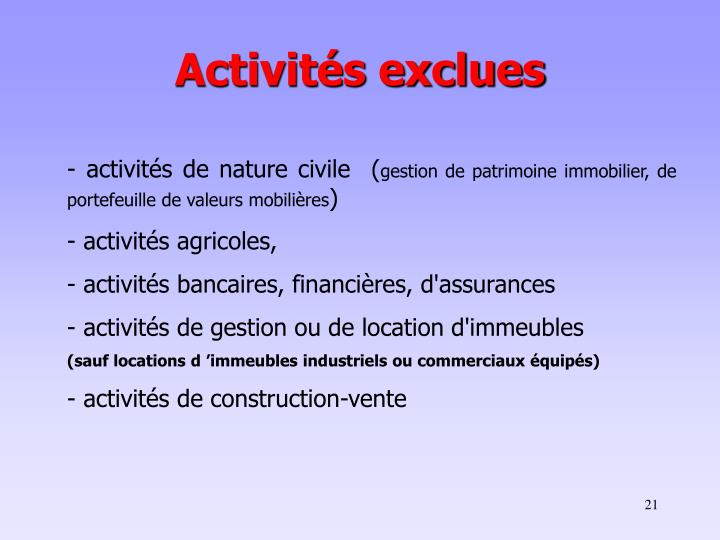 Activités exclues