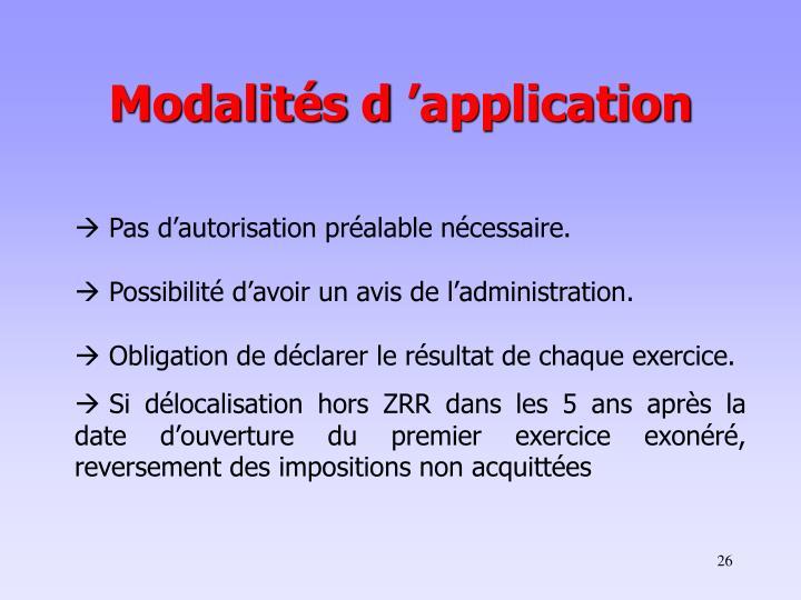 Modalités d'application