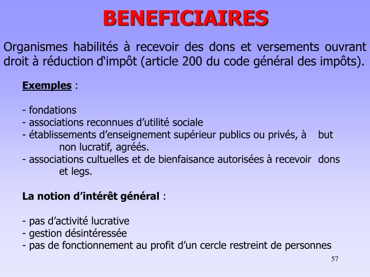 BENEFICIAIRES