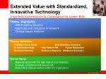 extended value with standardized innovative technology improved governance compliance to lower risk