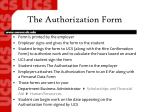 the authorization form