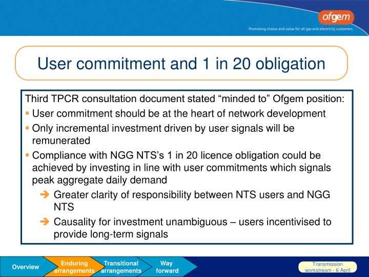 User commitment and 1 in 20 obligation