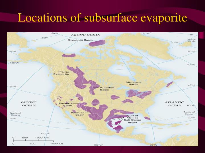 Locations of subsurface evaporite