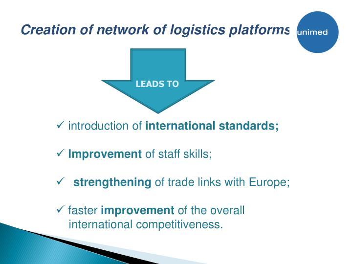 Creation of network of logistics platforms
