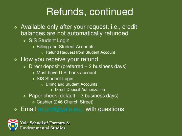 Refunds, continued