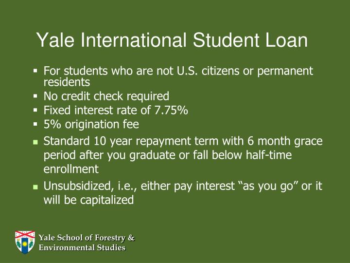 Yale International Student Loan