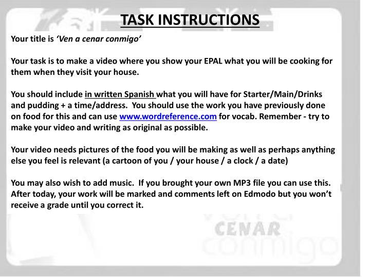 TASK INSTRUCTIONS