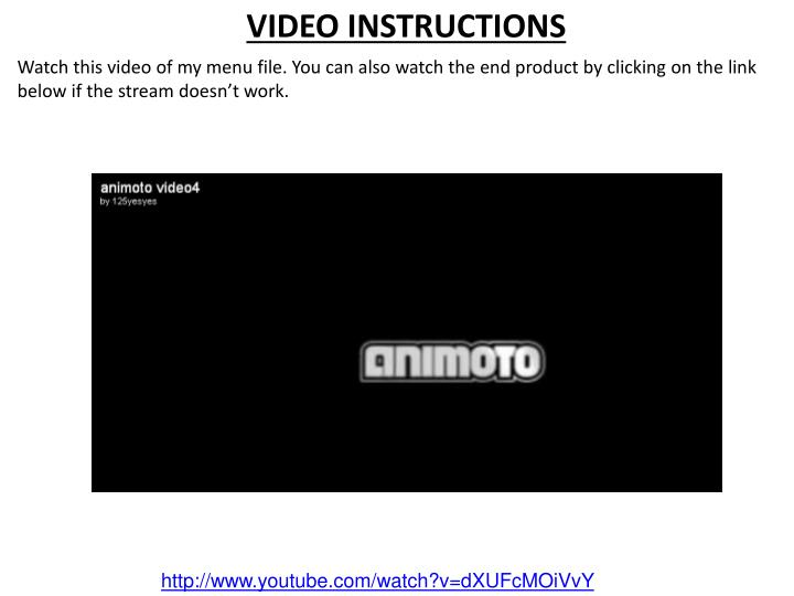 VIDEO INSTRUCTIONS
