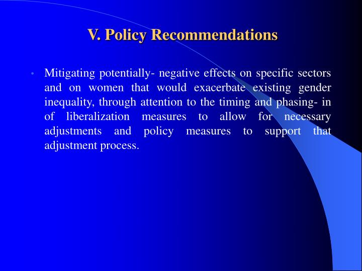 V. Policy Recommendations