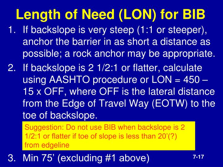 Length of Need (LON) for BIB