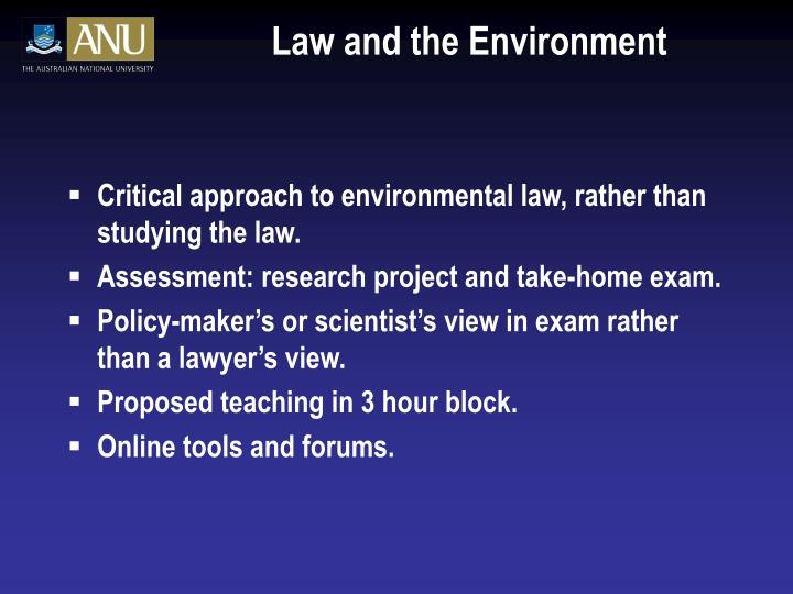 Law and the Environment