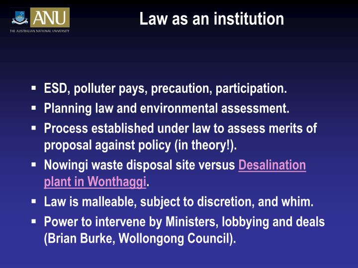 Law as an institution