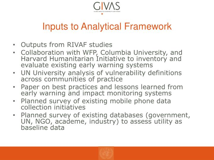 Inputs to Analytical Framework
