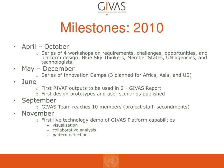 Milestones: 2010