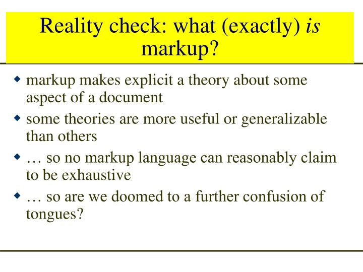 Reality check: what (exactly)