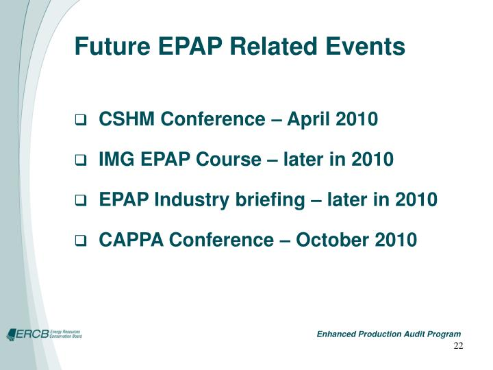 Future EPAP Related Events