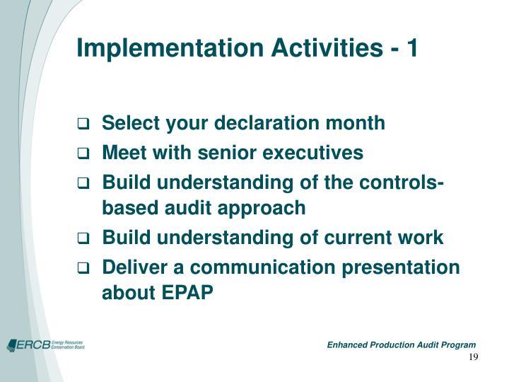 Implementation Activities - 1
