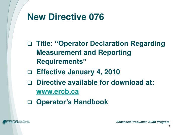 New directive 076