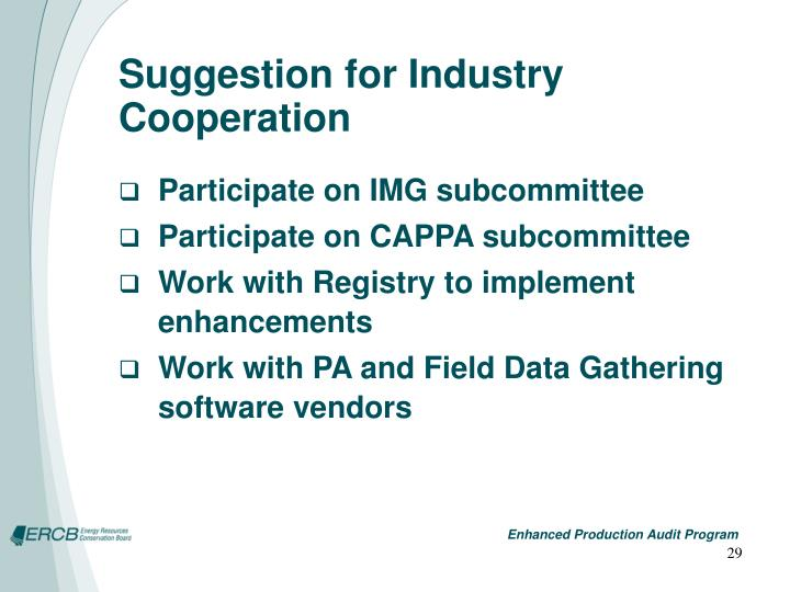 Suggestion for Industry Cooperation