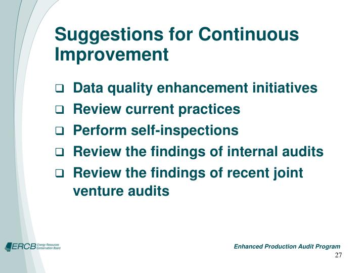 Suggestions for Continuous Improvement