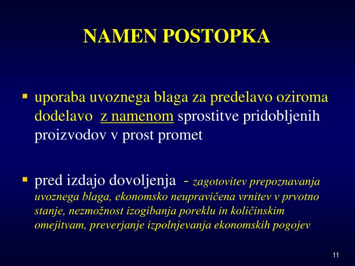 NAMEN POSTOPKA