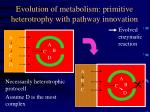 evolution of metabolism primitive heterotrophy with pathway innovation