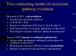 two contrasting modes of enzymatic pathway evolution