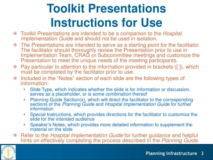 Toolkit presentations instructions for use