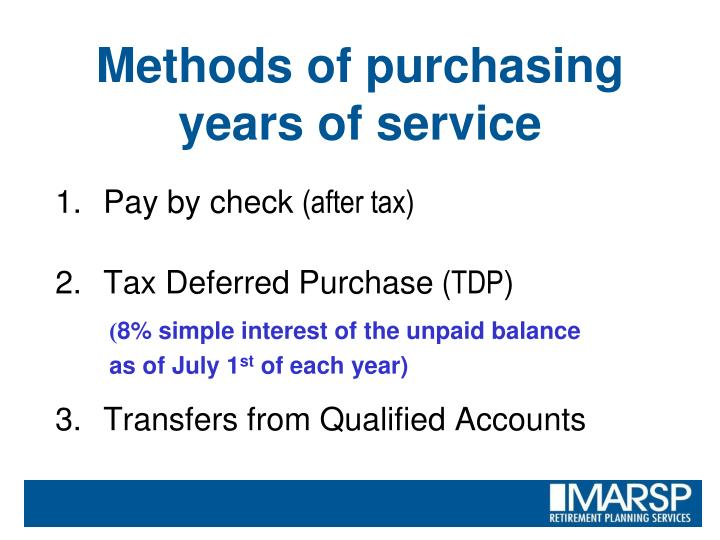 Methods of purchasing years of service