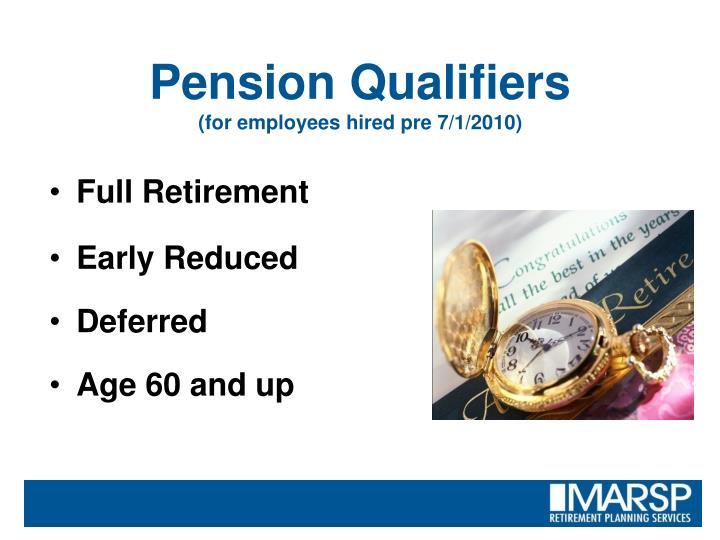 Pension Qualifiers