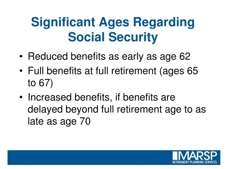 Significant Ages Regarding Social Security