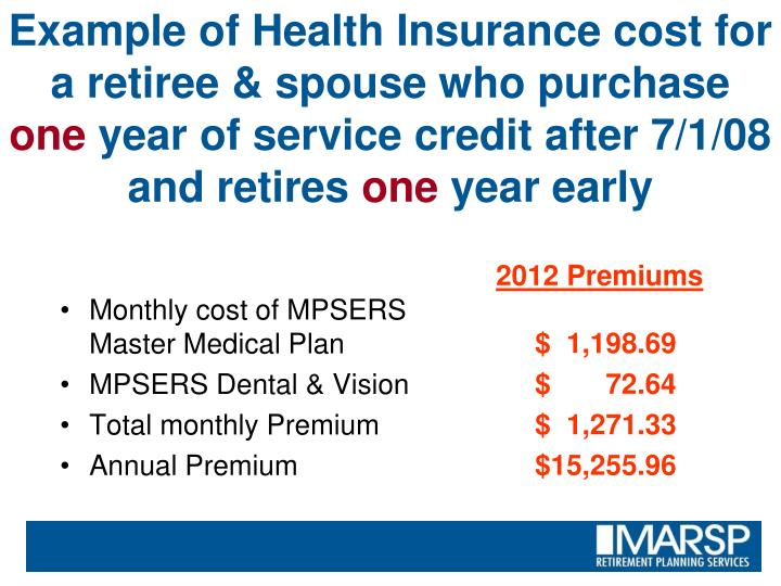 Example of Health Insurance cost for a retiree & spouse who purchase