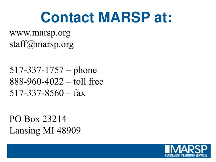 Contact MARSP