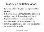 innovation ou optimisation