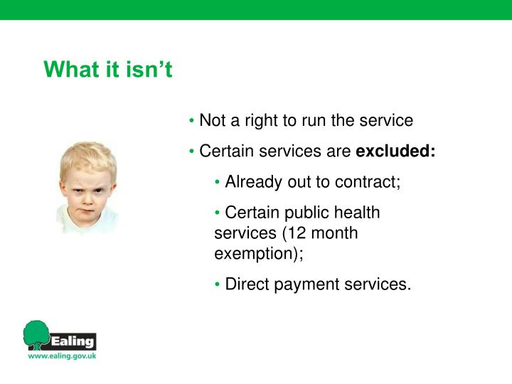 Not a right to run the service